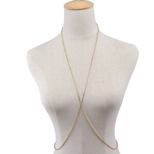 Sexy Rhinestone Bra Body Chain Bikini Top Necklace Jewelry for Women Crystal Cross Belly Body Jewelry Waist Chain Necklaces Gift - Cum Splash