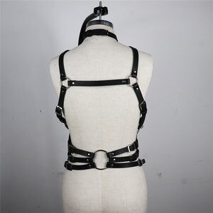 Classy Leather Harness Top - Cum Splash