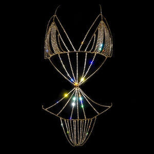 Stonefans Handmade Crystal Leotard Bodysuit Body Chain - Cum Splash