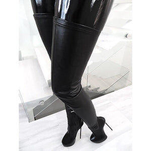 LAIGZEM SUPER Women Thigh High Boots Black Side Zip Stiletto Heels Platform Party Boots Over Knee Shoes Botine Large Size 50 52 - Cum Splash