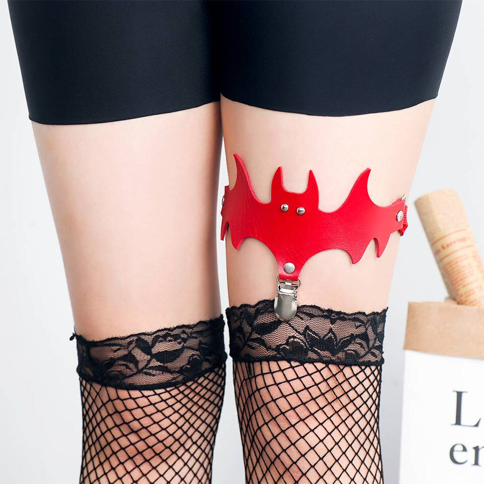 Evil Bat Thigh Garter - Cum Splash