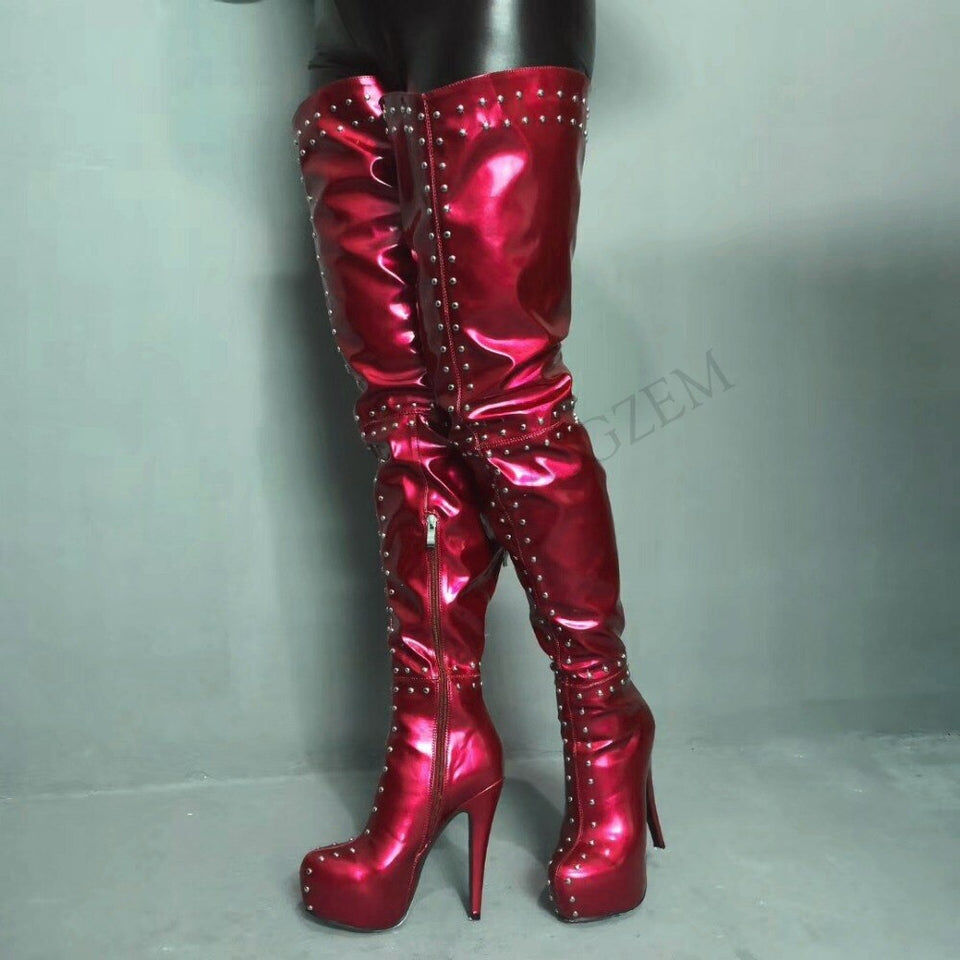 Sexy High Heel Queen Boots - Cum Splash