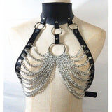 Metal Chain Harness With Collar - Cum Splash